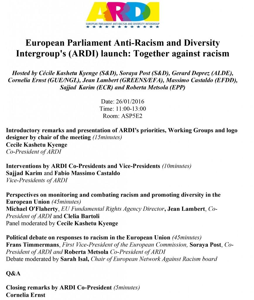 Anti-Racism and Diversity Intergroup_s (ARDI) launch agenda